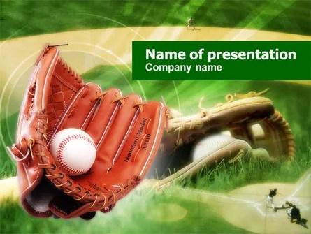 Baseball Glove PowerPoint Template, Backgrounds 00653