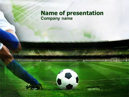 A Kick In Soccer PowerPoint Template, Backgrounds 00835