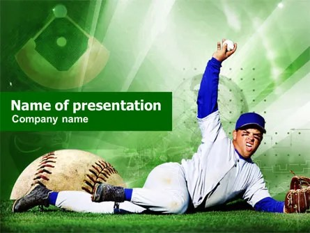 Baseball Catch PowerPoint Template, Backgrounds 00948