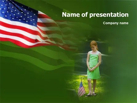 Little Girl In Memorial Day Free PowerPoint Template, Backgrounds