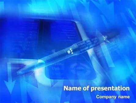 High Tech Digital Pen PowerPoint Template, Backgrounds 01890
