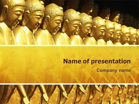 Statues of Buddha PowerPoint Template, Backgrounds 02446 - buddhism powerpoint