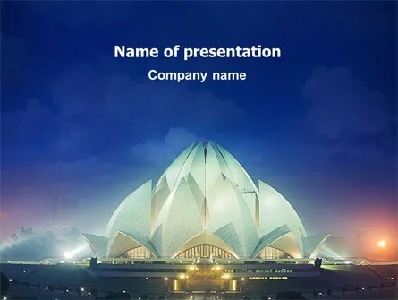 Lotus Temple PowerPoint Template, Backgrounds 02662