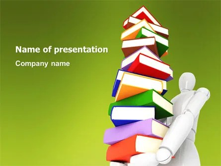 Books Stack In Hands PowerPoint Template, Backgrounds 03029 - Powerpoint Books