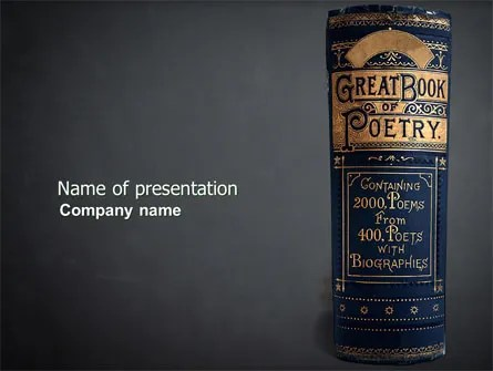 Book of Poetry PowerPoint Template, Backgrounds 03879 - poetry powerpoint