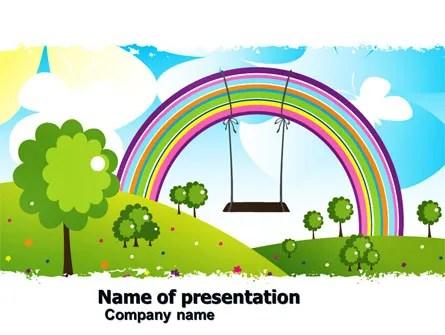 Childish Rainbow PowerPoint Template, Backgrounds 05045 - rainbow powerpoint
