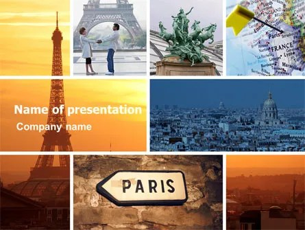 Paris In Collage PowerPoint Template, Backgrounds 05425