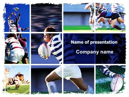 Rugby Collage PowerPoint Template, Backgrounds 06219