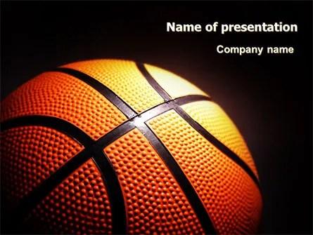 Basketball Ball on NBA Colors Floor PowerPoint Template - basketball powerpoint template