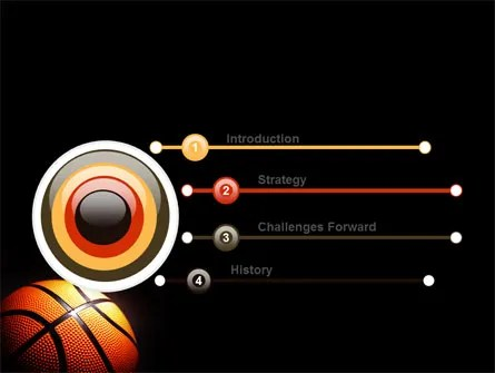 Basketball Ball on NBA Colors Floor PowerPoint Template, Backgrounds