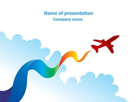 Airplane Illustration PowerPoint Template, Backgrounds 07917