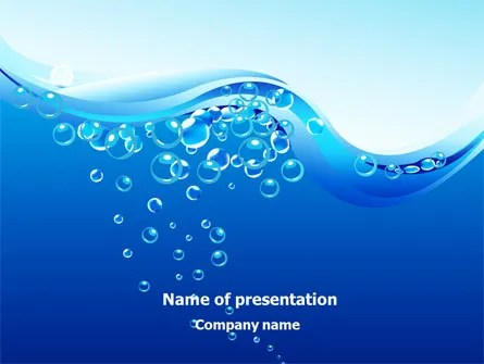 Water Bubbles PowerPoint Template, Backgrounds 08098