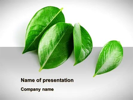 Green Leaves Free PowerPoint Template, Backgrounds 08639