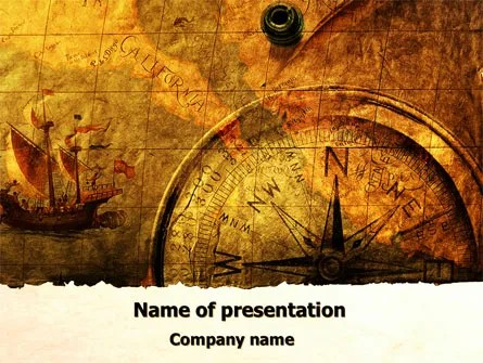 Ancient Map With Compass PowerPoint Template, Backgrounds 09769
