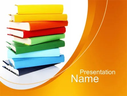 Stack of Books PowerPoint Template, Backgrounds 10390