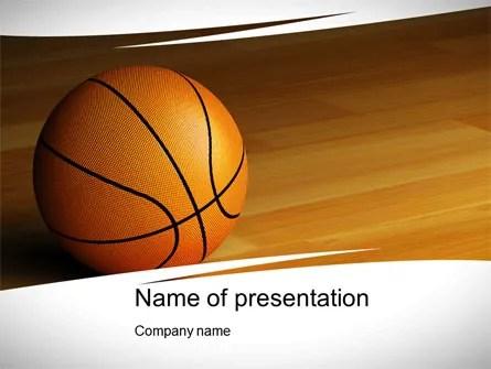 Basketball on Floor PowerPoint Template, Backgrounds 10638 - basketball powerpoint template