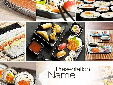 Sushi Collage PowerPoint Template, Backgrounds 10675