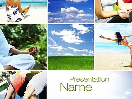 Yoga Collage PowerPoint Template, Backgrounds 10790