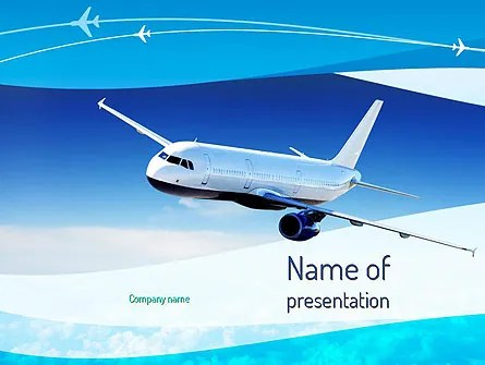 Airplane in the Sky PowerPoint Template, Backgrounds 11052