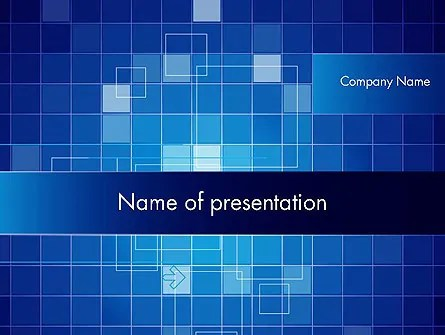 Glowing Blue Grid PowerPoint Template, Backgrounds 12050