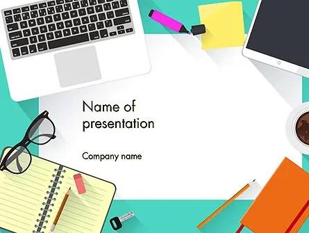 Office Desktop Workspace PowerPoint Template, Backgrounds 13928 - office powerpoint template