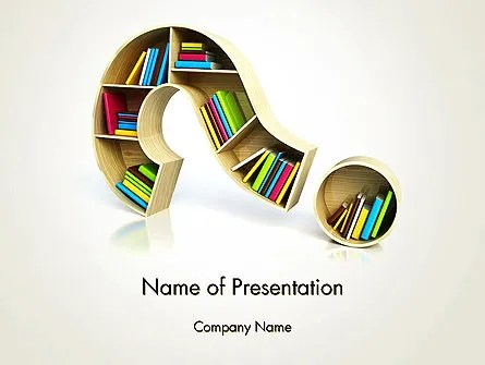 Question Mark With Books PowerPoint Template, Backgrounds 13974 - Powerpoint Books