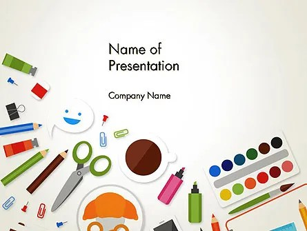 Primary School Supplies PowerPoint Template, Backgrounds 14032