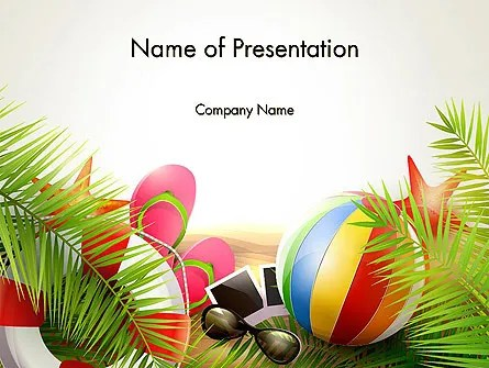 Happy Summer Holiday PowerPoint Template, Backgrounds 14034