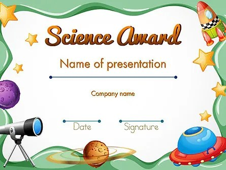 Science Award Certificate PowerPoint Template, Backgrounds 14193