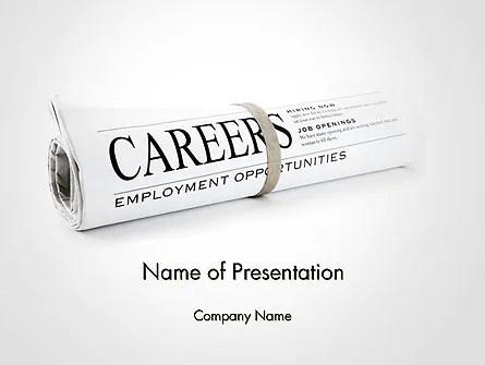 Rolled Newspaper with Headline Careers PowerPoint Template - newspaper headline template