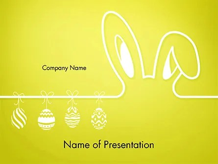 Happy Easter Background with Ears Rabbit and Eggs PowerPoint