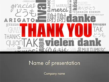 Thank You Word Cloud in Different Languages PowerPoint Template