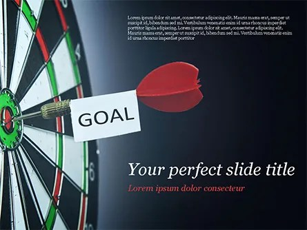Dart with Goal Text PowerPoint Template, Backgrounds 15089