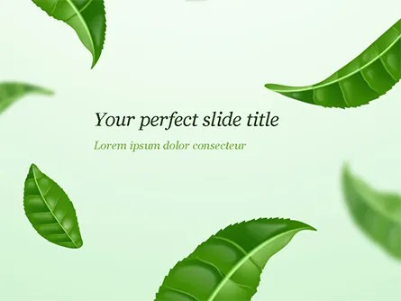 Green Tea Leaves PowerPoint Template, Backgrounds 15273
