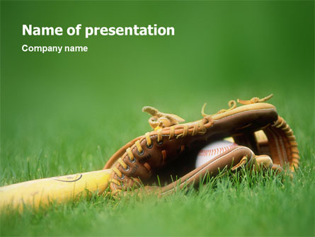 Baseball Glove and Bat Presentation Template for PowerPoint and