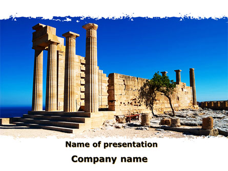 Ruins Of Ancient Greek Temple Presentation Template for PowerPoint