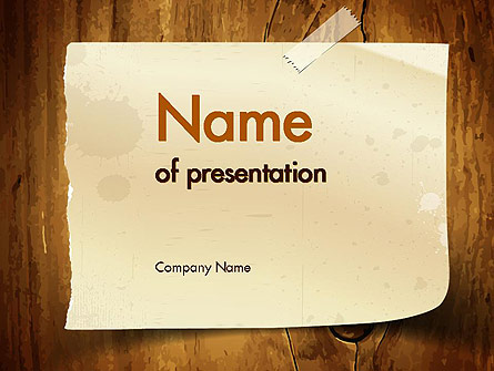 Note Paper With Adhesive Tape Presentation Template for PowerPoint