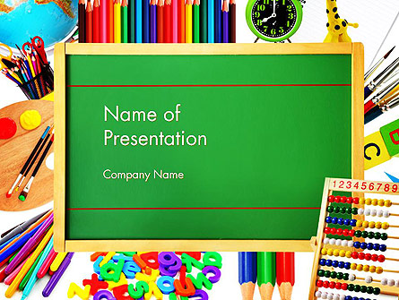 School Supplies Border Presentation Template for PowerPoint and