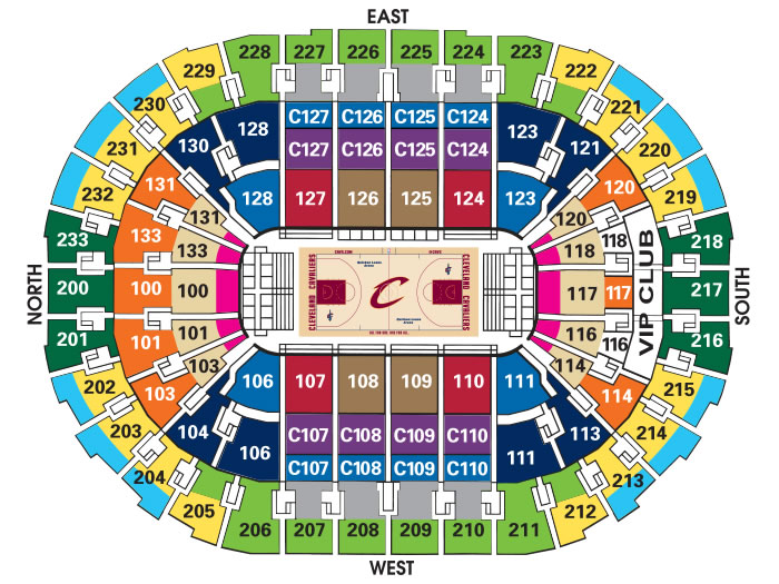Quicken Loans Arena - What is the difference between sections 128