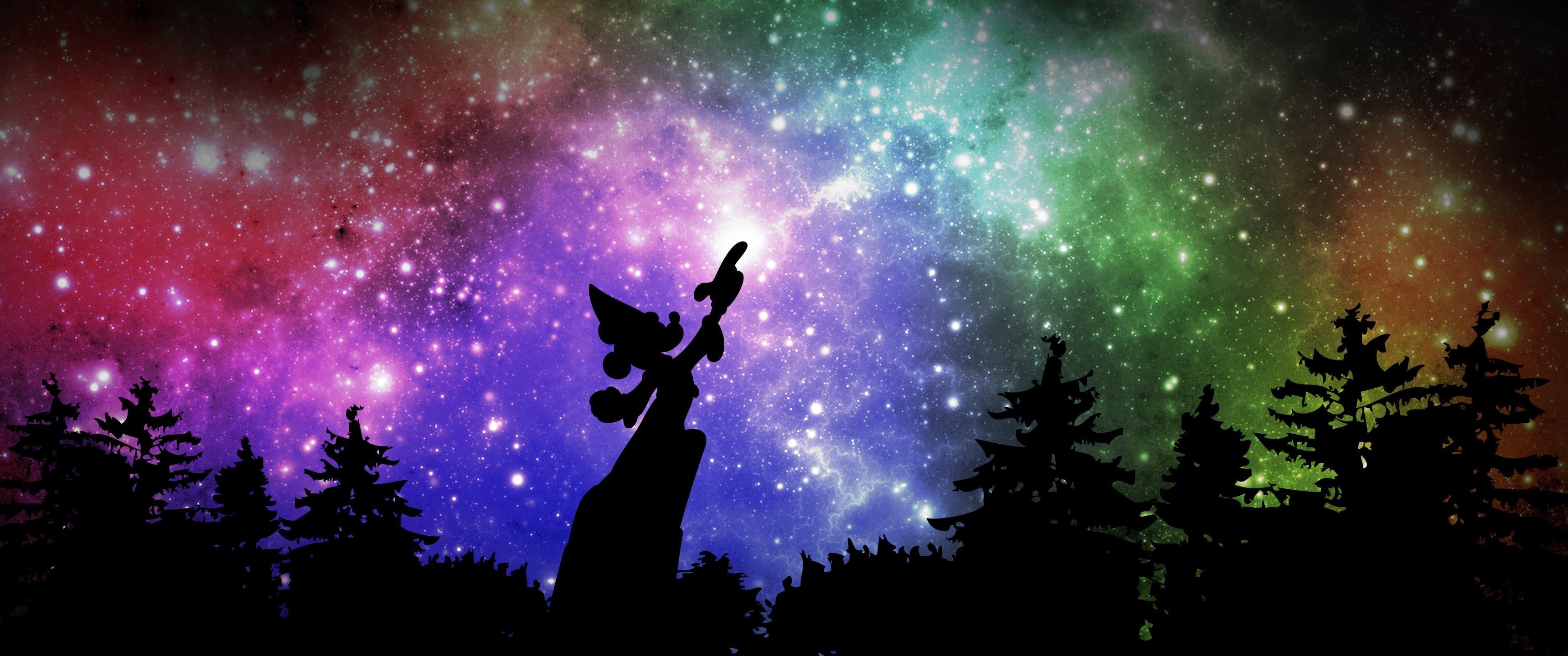 Fireworks Live Wallpaper Iphone Sorcerer Mickey From Fantasmic 3440x1440