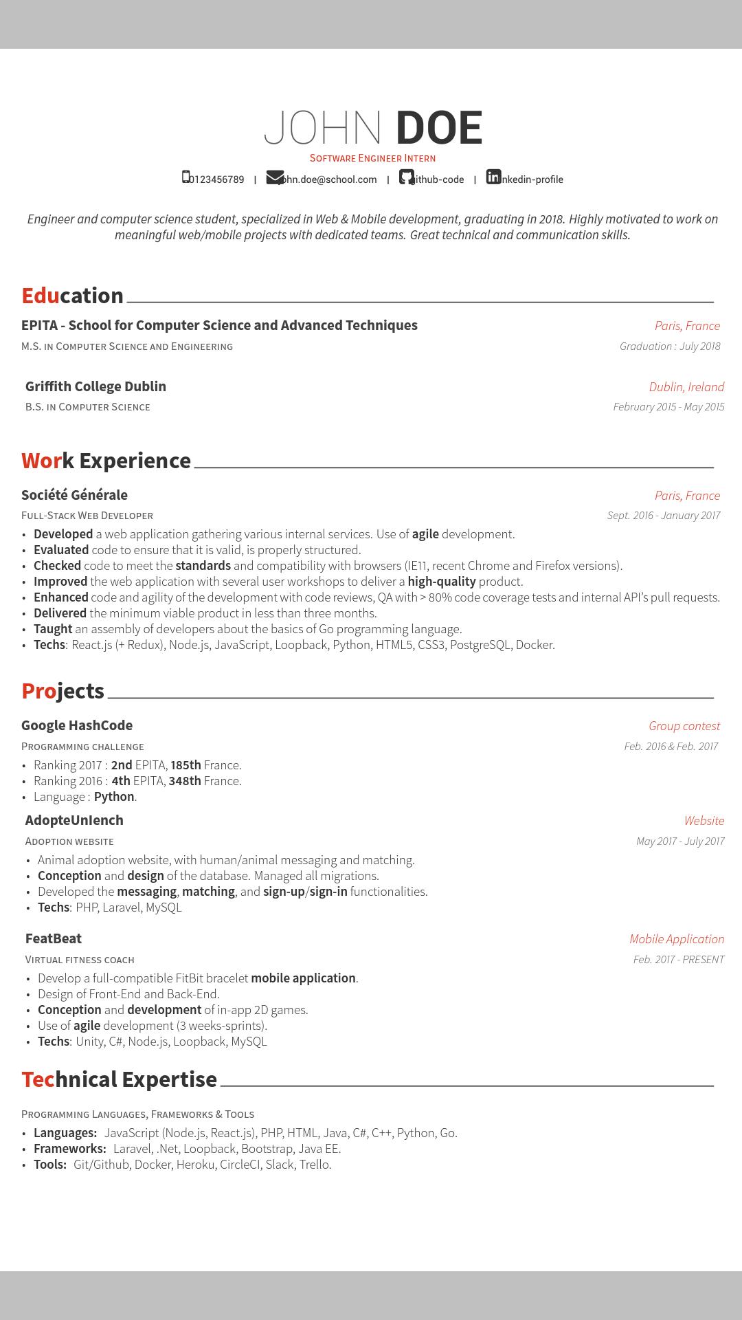 Reddit Resume For Software Engineer Internship