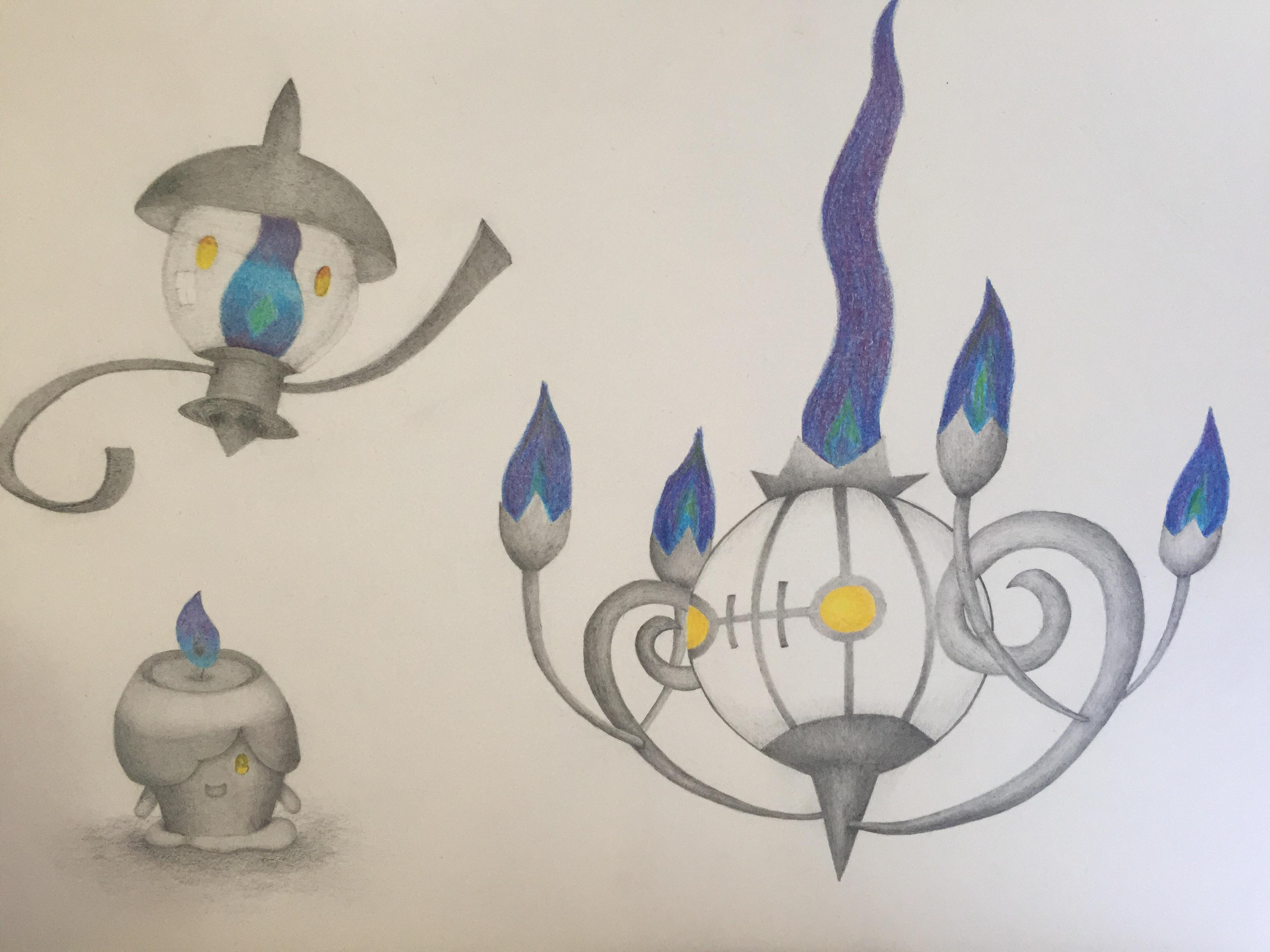 A Drawing Of Litwick Lampent And Chandelure I Have Done For My Son What Do People Think Pokemon
