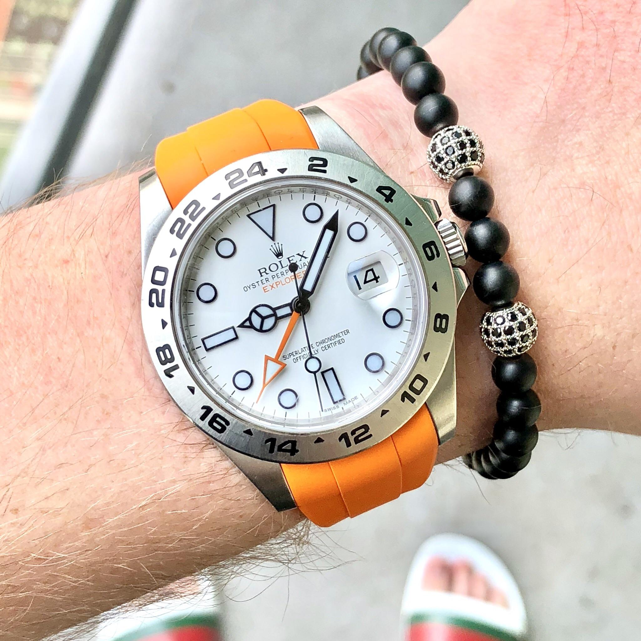 Rolex Rubber Rolex Put My Explorer 2 On An Orange Rubber B Strap For