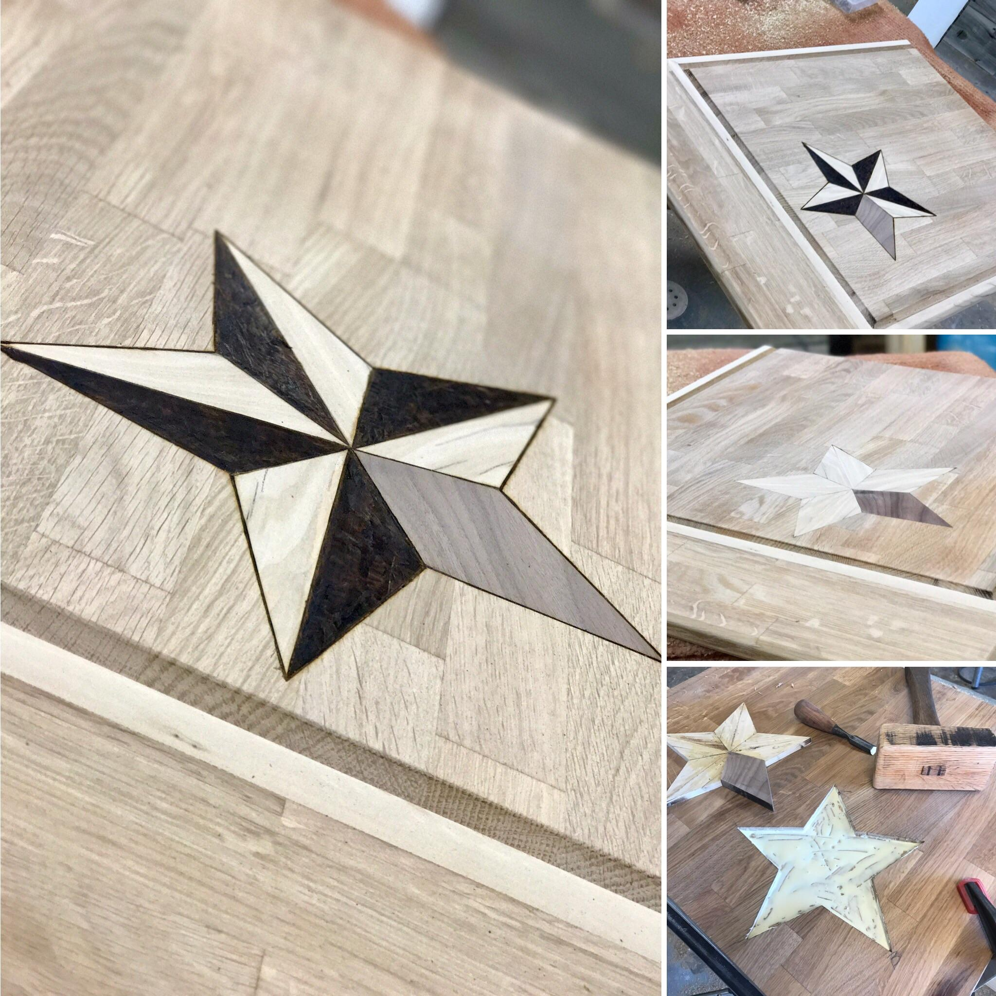Cutting Board I Made From A Ikea Countertop Cutoff Hand Inlayed Star Made From Reclaimed Maple And Black Walnut Imadethis