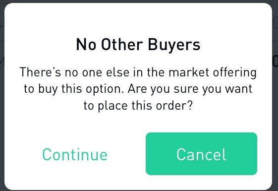 In Robinhood options, when would you see this notification, and go