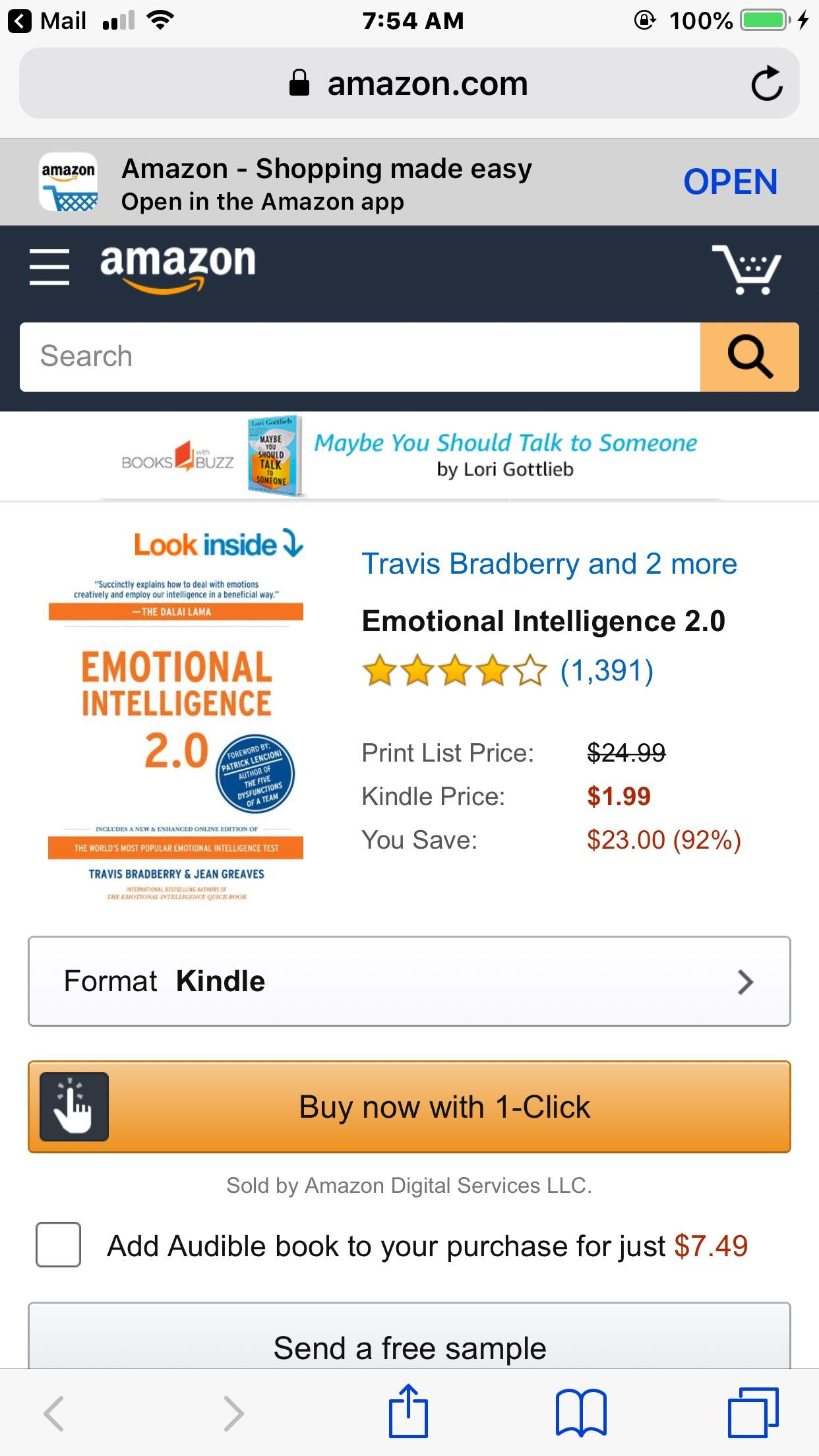 Audible App By Amazon Emotional Intelligence 2 1 99 Kindle Add Audible For