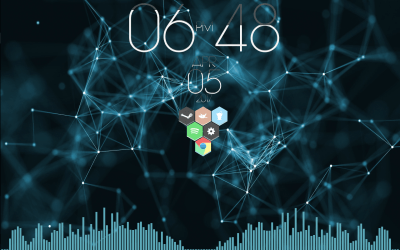 Wallpaper Engine, honeycomb, time and visualizer! : Rainmeter