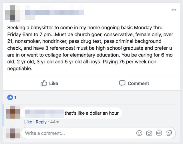 Babysitter wanted, must be in collage  ChoosingBeggars