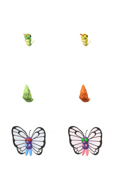 Shiny Caterpie, Metapod,  Butterfree models (via Chrales