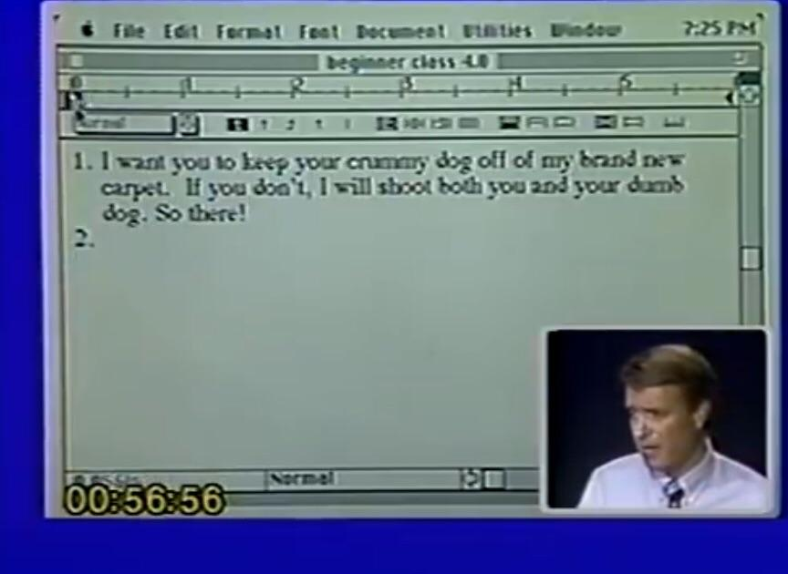 This example from a 1989 Microsoft Word video escalated quickly  funny